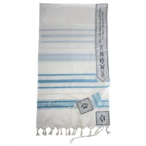 Acrylic Tallit - Light Blue & Silver Striped Design