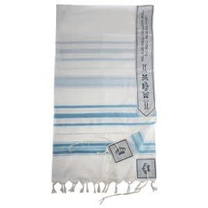 Acrylic Tallit - Light Blue & Silver Striped Design