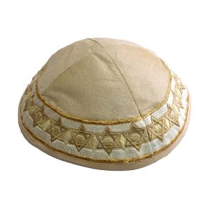 Beige Silk Star of David Kippah with Gold & White Embroidery