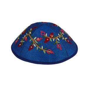 Blue Silk Pomegranate Kippah