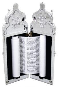 Elegant Silvered Polyresin Sephardic Torah Book For Children, Laid with Choshen Stones