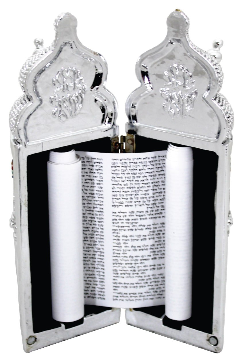 Elegant Silvered Polyresin Sephardic Torah Book For Children, Laid with Choshen Stones