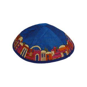 Embroidered Blue Jerusalem Silk Kippah