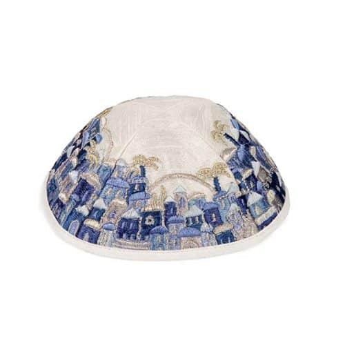 Embroidered Cotton Kippah - Jerusalem - Blue