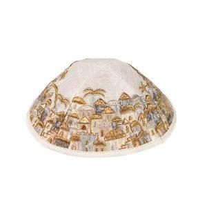 Embroidered Cotton Kippah - Jerusalem - Gold