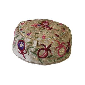 Embroidered Hat - Pomegranates Gold