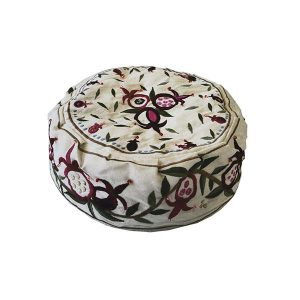 Embroidered Hat - Pomegranates White