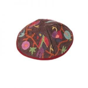 Embroidered Kippah - Birds Color