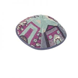Embroidered Kippah - Jerusalem Blue