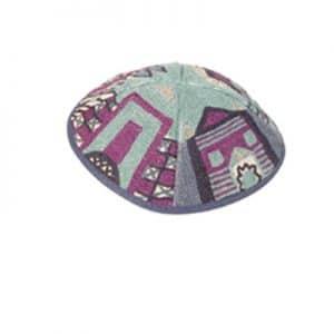 Embroidered Kippah - Jerusalem Blue