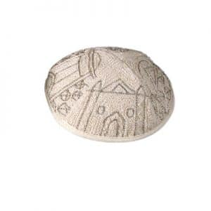 Embroidered Kippah - Jerusalem Silver