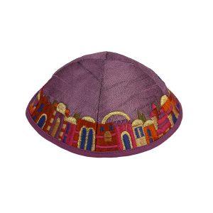 Embroidered Purple Jerusalem Silk Kippah