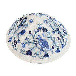 Embroidered Silk Kippah -Birds & Flowers (Blue)