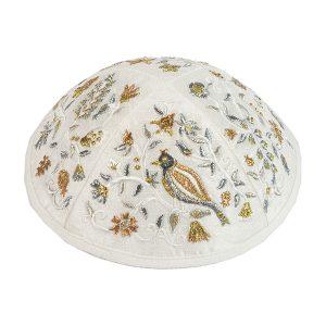 Embroidered Silk Kippah -Birds & Flowers (Brown)