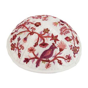 Embroidered Silk Kippah -Birds & Flowers (Red)