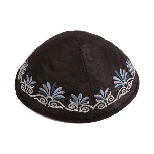 Embroidered Silk Kippah - Flowers Black