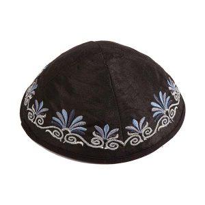 Embroidered Silk Kippah - Flowers Black