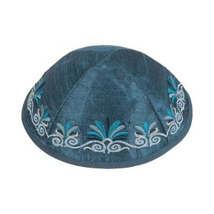 Embroidered Silk Kippah - Flowers Blue