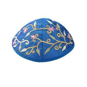 Embroidered Silk Kippah - Flowers Blue