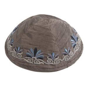 Embroidered Silk Kippah - Flowers Gray