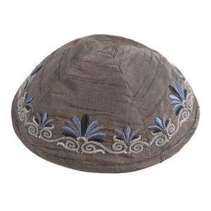 Embroidered Silk Kippah - Flowers Gray
