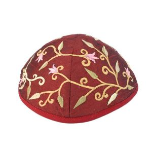 Embroidered Silk Kippah - Flowers Magenta