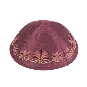 Embroidered Silk Kippah - Flowers Maroon