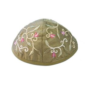 Embroidered Silk Kippah - Flowers Olive