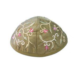 Embroidered Silk Kippah - Flowers Olive