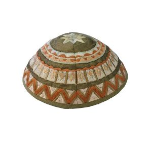 Embroidered Silk Kippah - Geometrical Olive