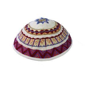 Embroidered Silk Kippah - Geometrical White