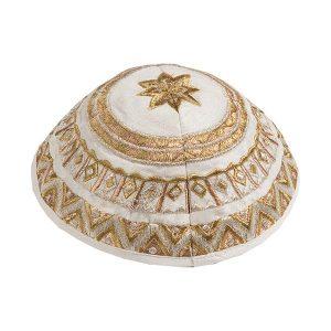 Embroidered Silk Kippah - Geometrical White Gold