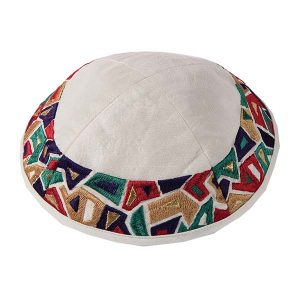 Embroidered Silk Kippah - Geometrical - White and Multicolored Border