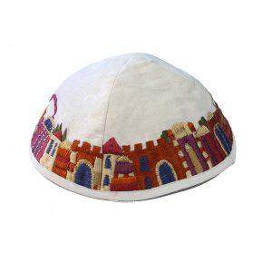 Embroidered Silk Kippah - Jerusalem White
