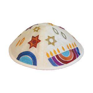 Embroidered Silk Kippah - Jewish Symbols (Colors)
