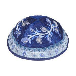 Embroidered Silk Kippah - Pomegranates (Blue)