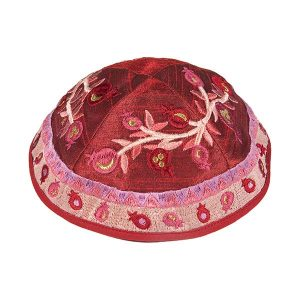 Embroidered Silk Kippah - Pomegranates (Pink/Red)