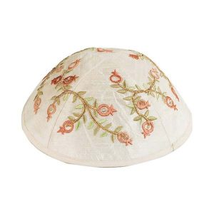 Embroidered Silk Kippah - Pomegranates Red