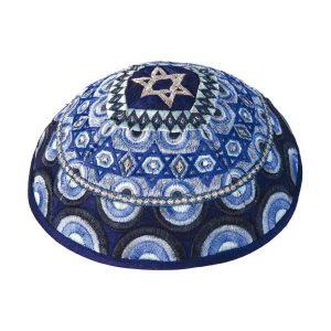 Embroidered Silk Kippah - Stars of David - Blue