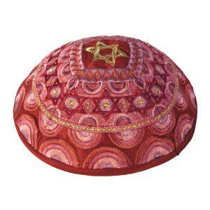 Embroidered Silk Kippah - Stars of David - Red