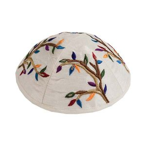 Embroidered Silk Kippah - Tree Brown