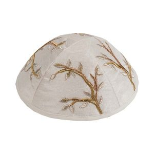 Embroidered Silk Kippah - Tree Gold
