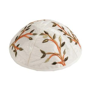 Embroidered Silk Kippah - Tree White
