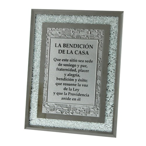 Glass Frame with Decorative Stones - Spanish Blessing for Home