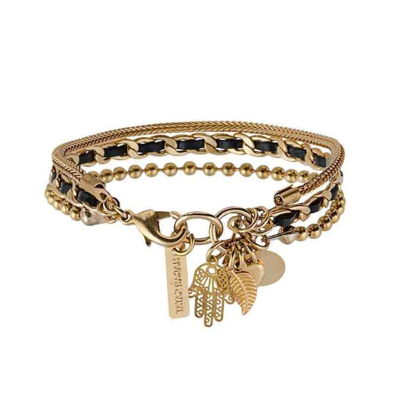 Gold Charms Bracelet - Black