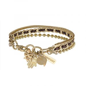 Gold Charms Bracelet - Brown