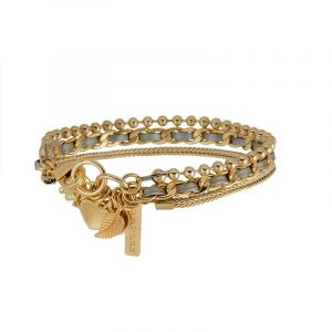 Gold Charms Bracelet - Grey