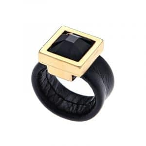 Gold Cocktail Crystal Ring - Black