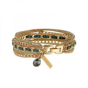 Gold Multi Chain Bracelet - Turquoise