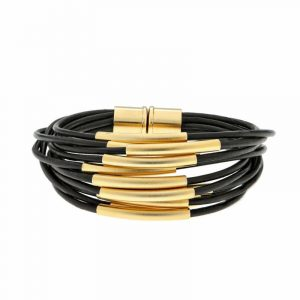 Gold Multi Cord Bracelet With Magnet - Black